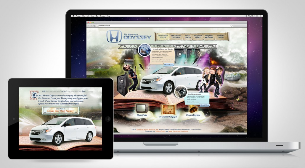 Honda Vantasy Microsite Welcome Screen
